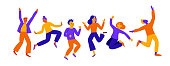 Vector illustration in flat simple style - happy jumping team - smiling men and womenand joyful people