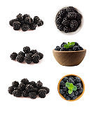 Blackberries isolated on white background. Blackberries with copy space for text. Blackberries from different angles. Sweet and juicy berry. Heap of blackberries on white background.