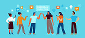 Vector illustration in flat simple style with characters - influencer marketing concept and referral loyalty program