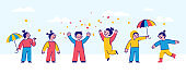 Vector illustration  in simple flat style and characters - happy children