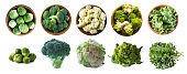 Brussels sprouts, broccoli, cauliflower, roman cauliflower and kale leaves in wooden bowl isolated on a white background. Five bowls of cabbage on a white background. Cabbage from different angles.