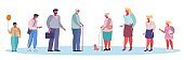 People of different ages vector flat style design illustration