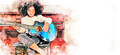 Abstract colorful girl playing acoustic guitar and piano keyboard on watercolor illustration painting background.