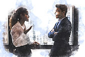 Abstract Asia two business partner talking and Discuss work on the desk on watercolor illustration painting background.
