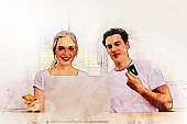 Happiness young couple lover fun and resting in summer holiday at home on watercolor illustration painting background.