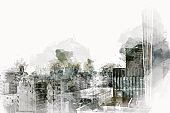 Abstract offices Building in the city on watercolor painting background. City on Digital illustration brush to art.