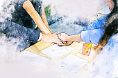 Abstract business handshake partnership on watercolor illustration painting background.