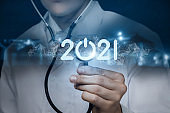 Concept of the New Year 2021 in medicine.