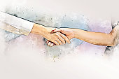 Abstract colorful Join hands business partner concept and handshake agreement concept on watercolor painting background.