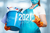 New year 2021 for cleaning services.
