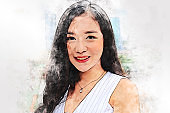 Abstract happiness young business woman smile portrait and traveling in the city on watercolor illustration painting background.