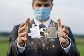 Concept of solving complex problems in business during a pandemic.