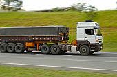 large size dump truck loaded on roadway