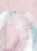 Modern art illustration, painting on the wall. Watercolor texture of marble, smoke, fog. Geometric shapes, arches.
