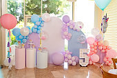 photo zone for a children's party with a candy bar. decor for a birthday.
