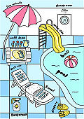 Swimming pool, water attractions. Aquapark. Deck chair under an umbrella. Sunscreen. Slippers and an inflatable ball. Vector cartoon illustration.