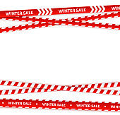Red sale ribbon, winter tapes in festive holiday style.