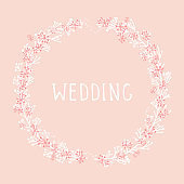 Vector hand drawn illustration of text WEDDING and floral round frame.