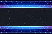 Futuristic galaxy background with neon laser grid. Abstract night sky with stars and glow.