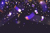 Glow neon confetti on transparent background. 3d Falling glitter and golden tinsel on banner tamplate for holiday, birthday, christmas card or mockup for social media. Rainbow iridescent particles.