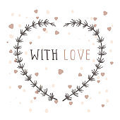 Vector hand drawn illustration of text WITH LOVE and floral frame.