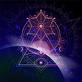Vector illustration of Sacred geometric symbol against the space background with sunrise and stars.
