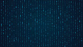 Blue matrix background. Falling binary numbers in retro futuristic style, abstract digital wallpaper for program code events, hackathon, cyber illustration.