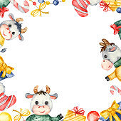 Watercolor Christmas square frame with cute bulls, gifts, Christmas decorations, sweets, sock.