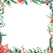 Watercolor Christmas square frame with spruce branches, pine, holly, flowers, leaves, berries.