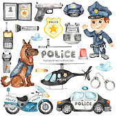 Watercolor set with police helicopter, car, motorcycle, police officer and police equipment