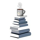 a stack of books. a cup stands on a bookstore. Vector illustration isolated on white background. Concept of remote work and online learning