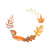 Watercolor autumn foliage clipart illustration