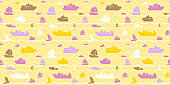 Seamless pattern with boats, yachts and sea waves
