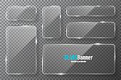Glass frames collection. Realistic transparent glass banner with glare. Vector design element