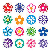 Flower head vector icons set - nature, plants, spring design collection