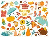 Autumn set. Cartoon yellow plants, food and forest animals, harvest festival and thanksgiving day attributes for card, poster vector set