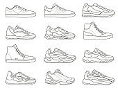 Sneakers icon. Outline sport shoe types for running and fitness. Minimalist line sneaker symbols. Fashion design of gym footwear vector set