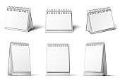 Desk calendar mockup. Blank calendars stand, table diary reminder and realistic 3D white template vector set