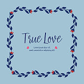 Cute pattern of leaf and flower frame, for true love greeting card wallpaper design. Vector