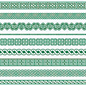 Irish Celtic vector seamless design, Celtic border and frame collection, braided ornaments for greeting cards, St Patrick's Day celebration