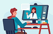 Telehealth doctor consultation. Patient talks with medic on computer. Online video call for pharmacy help. Virtual healthcare vector concept