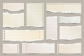 Colored ripped lined paper strips collection. Realistic paper scraps with torn edges. Sticky notes, shreds of notebook pages. Vector illustration