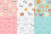 Seamless animals faces pattern. Cute animal heads, hand drawn zoo animals portraits patterns for kids vector illustration set