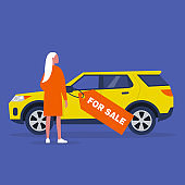 Car for sale, a young female character buying a vehicle, suv