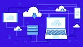 Cloud storage for downloading. Digital service or application with data transfer. Networked computing