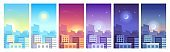 City landscape. Daytime cityscape sunrise, day, sunset and night city skyline, buildings in different time