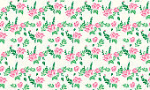 Valentine floral pattern background, with unique leaf and cute floral drawing.
