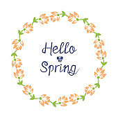 Seamless Crowd of leaf and yellow floral frame, for hello spring greeting card design. Vector
