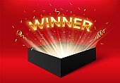 Winner glowing box with golden ribbons and confetti. Surprise carton isolated on red for event celebration