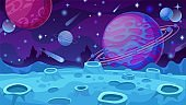 Fantasy planet surface. Extraterrestrial landscape with craters, comets and rocks, futuristic animation galaxy world for game vector concept